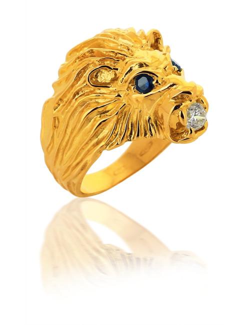 Chevalière Tête Lion En Oxyde de Zirconium Or 750/1000