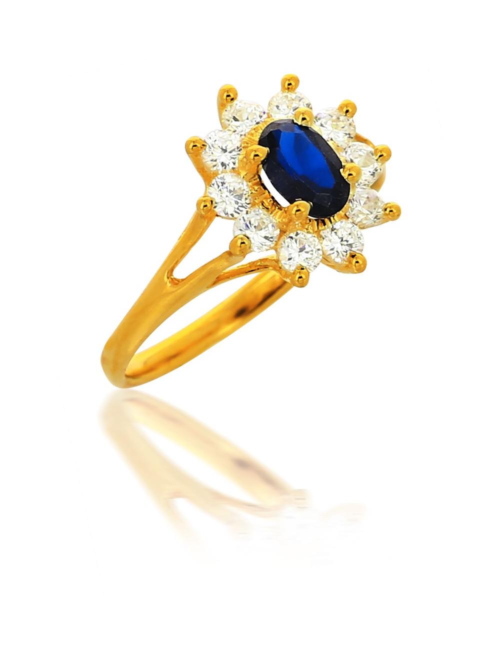 bague or et pierre bleue