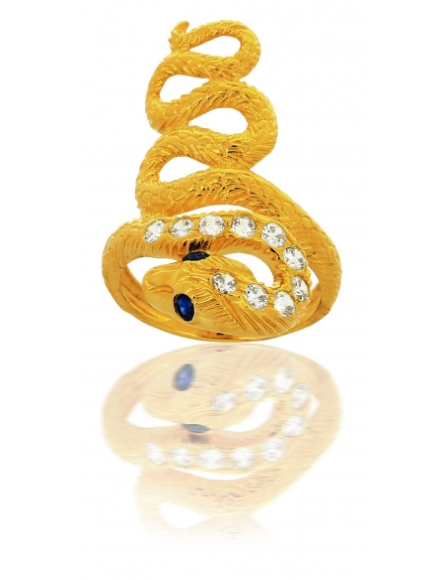 Bague Serpent Or et Zirconium 18 Carats