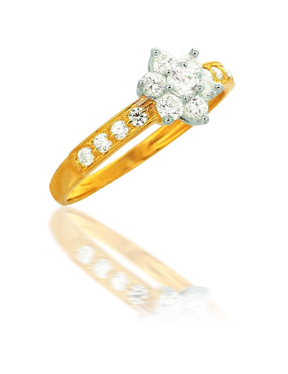 Bague Fleur Zircon Or 18 carats