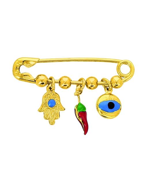 Epingle Oeil Piment Main Or 18 carats