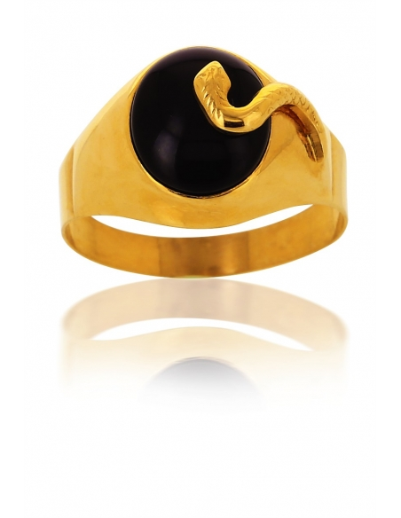 Chevalière Serpent Onyx Homme Or 750/1000