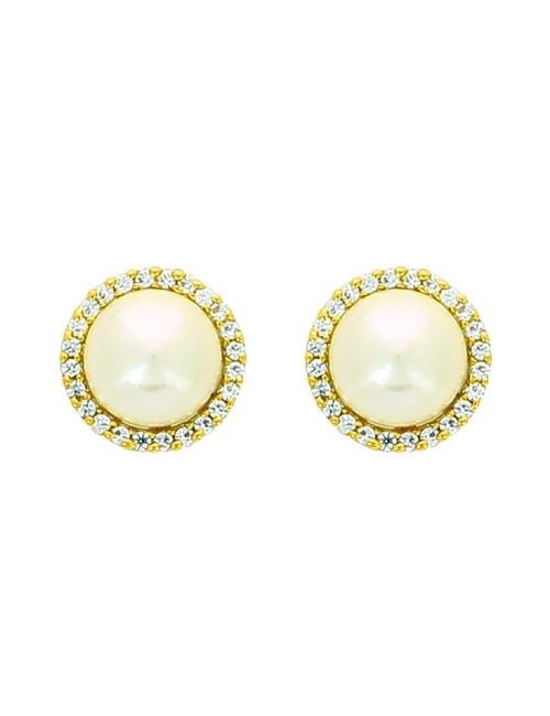 Boucles D'oreilles Femme  Perle Et Zircon Or Jaune 18 Carats