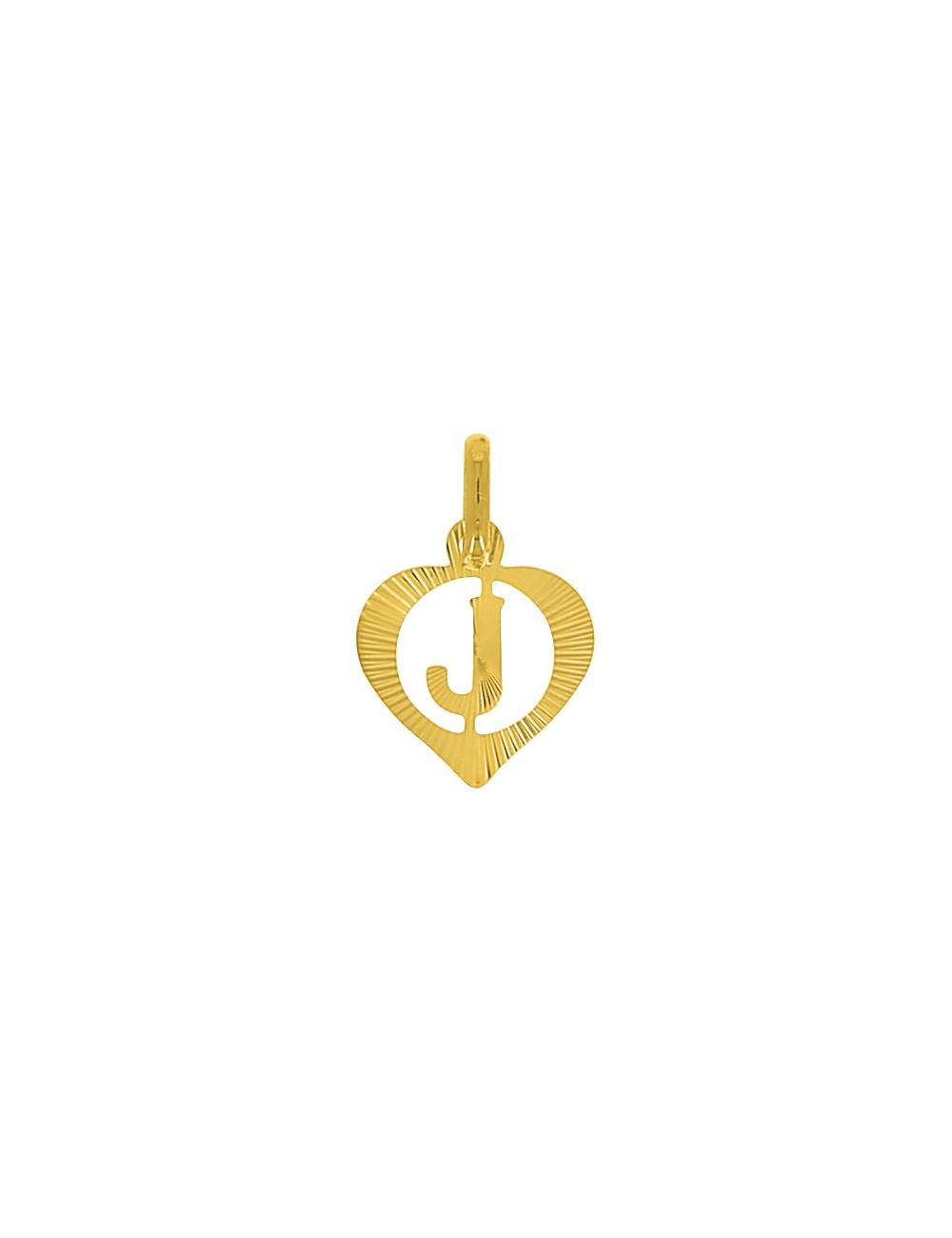 Pendentif Lettre J Or Jaune + Chaîne en Or 9 Carats