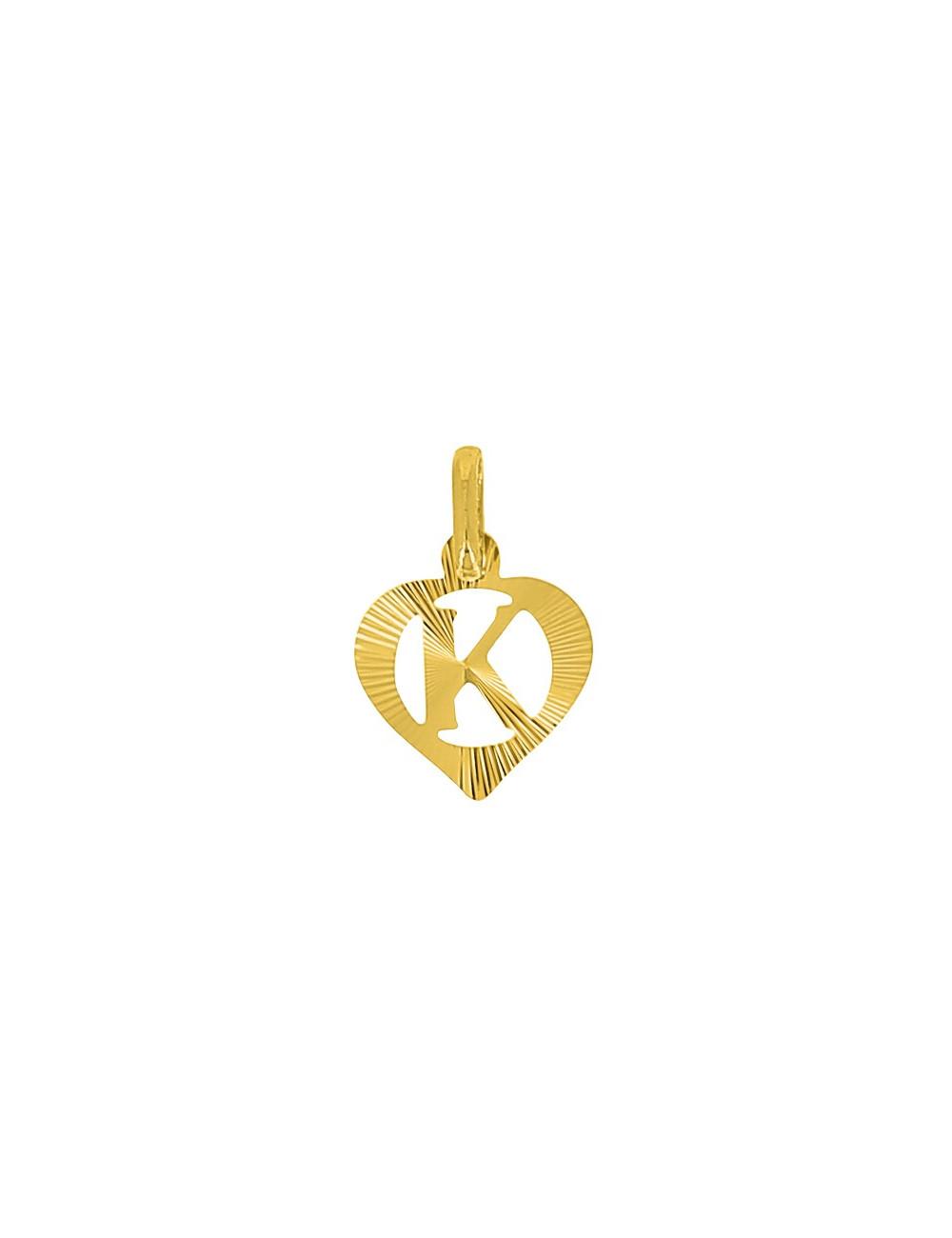 Pendentif Lettre K Or Jaune + Chaîne en Or 9 Carats