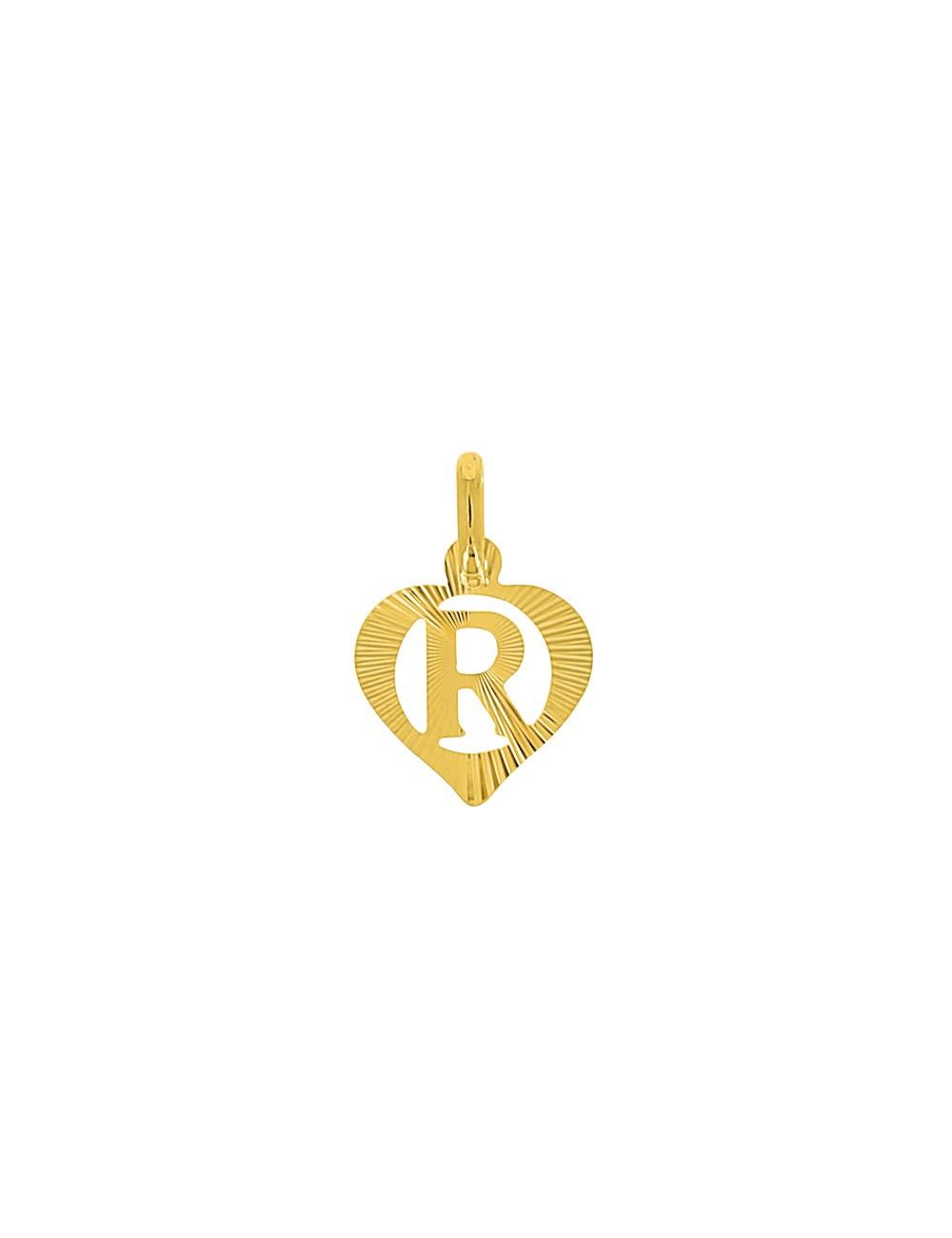Pendentif Lettre R Or Jaune + Chaîne en Or Offerte 9 Carats