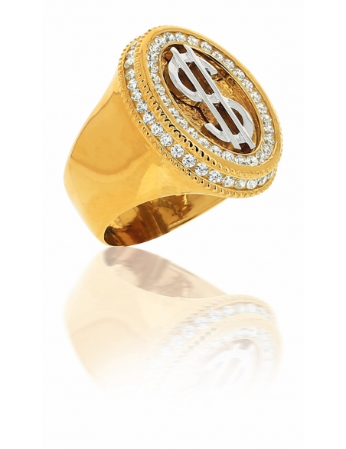 Chevalière Dollar Or Jaune 18 carats Et Zirconiums