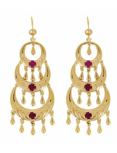 Boucles D'Oreilles Orientales 3 Etages Pierres Rouge En Or 18 Carats