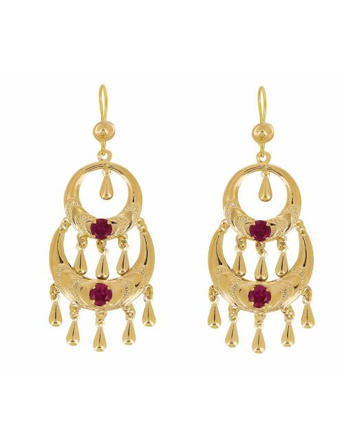 Boucles D'Oreilles Orientales 2 Etages Pierres Rouges En Or 18 Carats