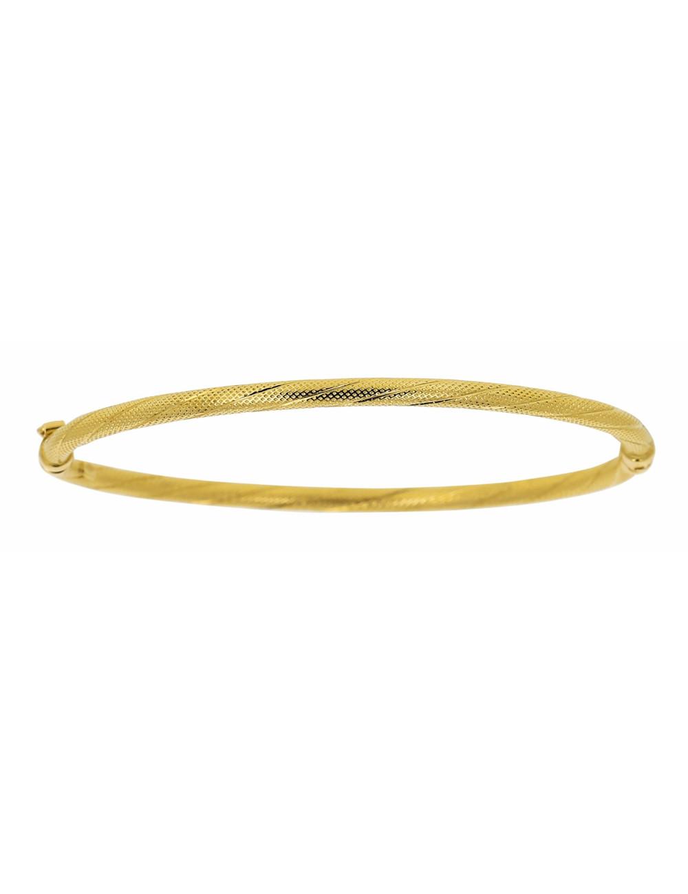 Bracelet Esclave Torsadée Satiné Brillant Or 18 carats