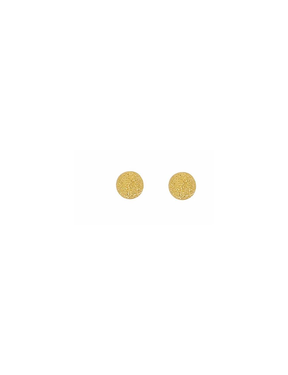 Boucles d'Oreilles Boules Satinées 4 mm Or 18 Carats