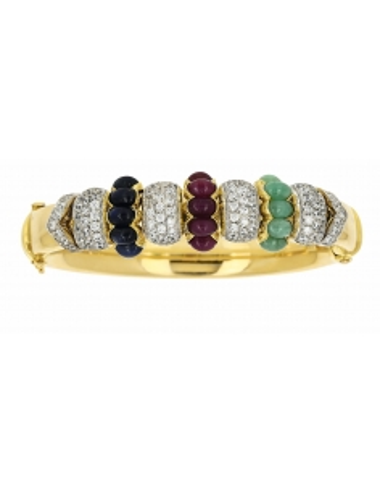 Bracelet Esclave Zirconium Rouge Bleu Vert et Or 18 carats