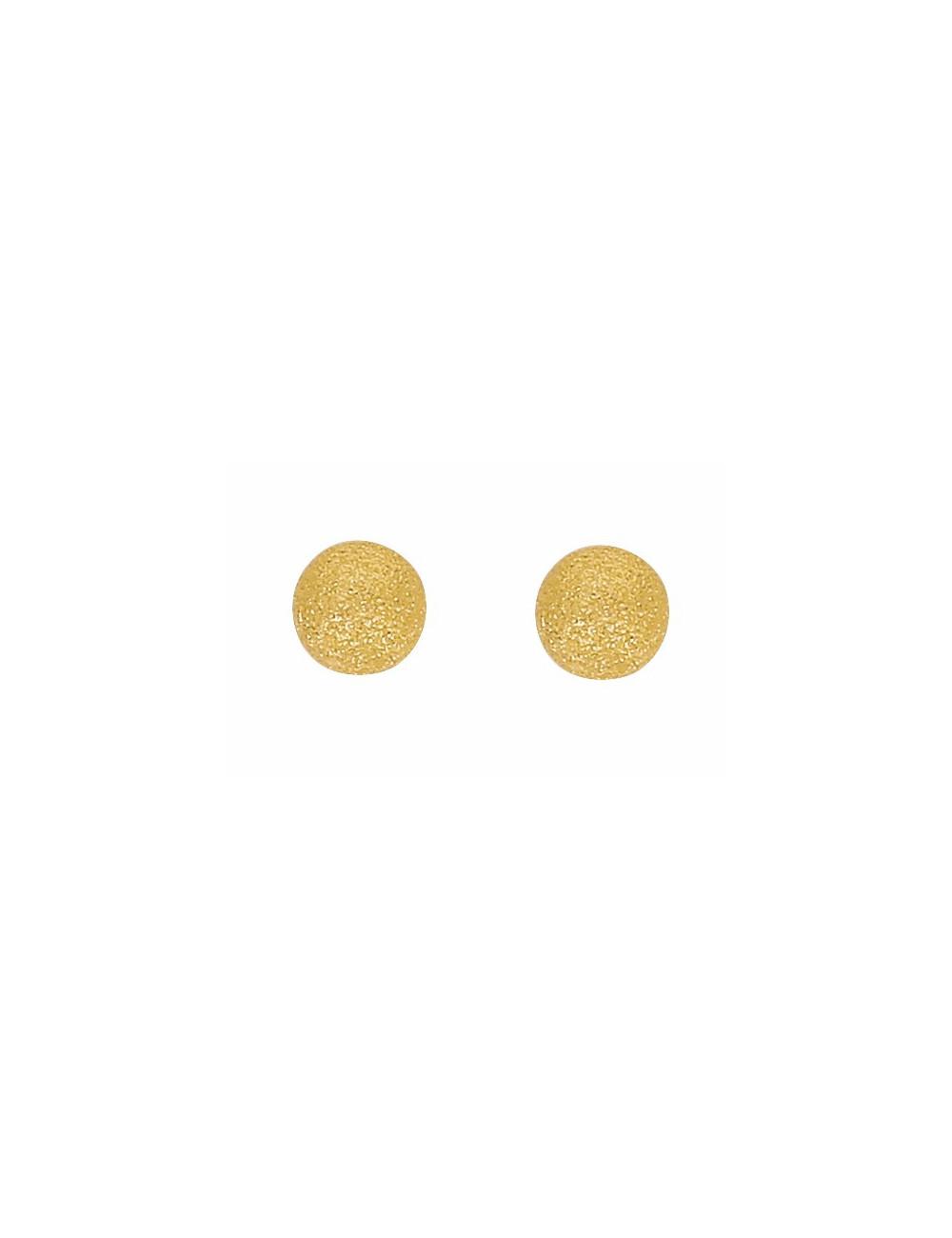 Boucles d'Oreilles Boules Satinées 6 mm Or 18 Carats