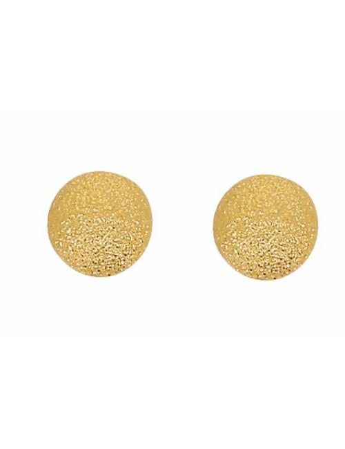 Boucles d'Oreilles Boules Satinées 7 mm Or 18 Carats