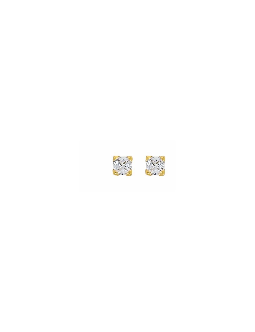 """Boucles D'Oreilles """"Puce"""" Carré Or 18 carats"""