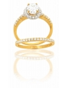 Bague Duo En Or Jaune 18 Carats Et Zirconiums