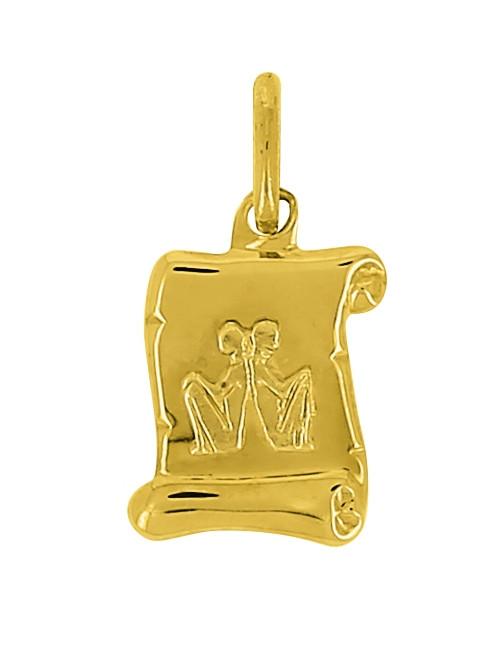 Pendentif Signe Du Zodiaque Gémeaux Or Jaune 18 Carats + Chaine Or Jaune 18 Carats Offerte