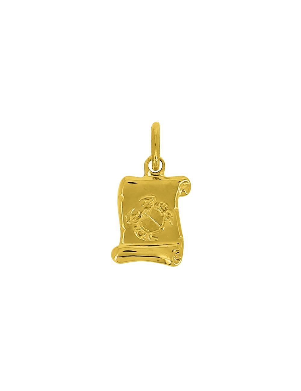 Pendentif Signe Du Zodiaque Cancer Or Jaune 18 Carats + Chaine Or Jaune 18 Carats Offerte