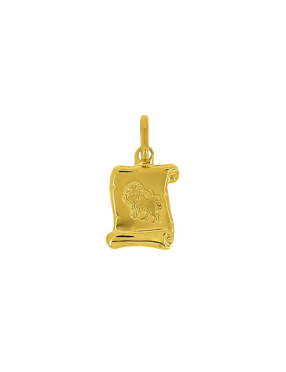 Pendentif Signe Du Zodiaque Lion Or Jaune 18 Carats + Chaine Or Jaune 18 Carats Offerte