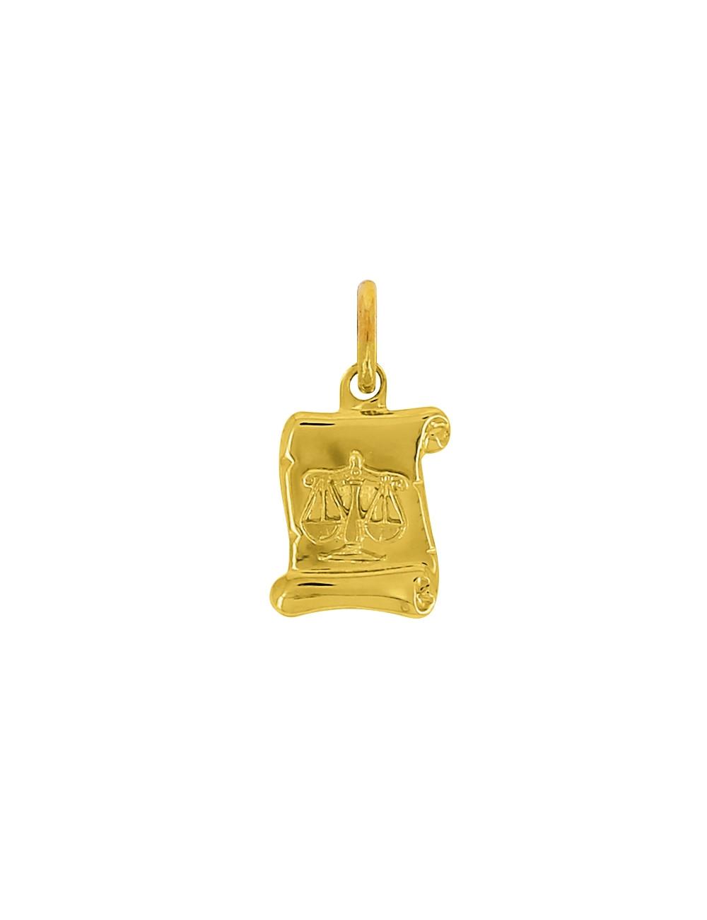 Pendentif Signe Du Zodiaque Balance Or Jaune 18 Carats + Chaine Or Jaune 18 Carats Offerte