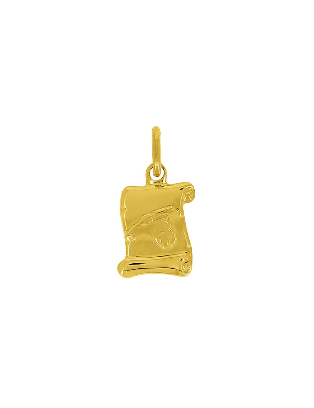 Pendentif Signe Du Zodiaque Capricorne Or Jaune 18 Carats + Chaine Or Jaune 18 Carats Offerte