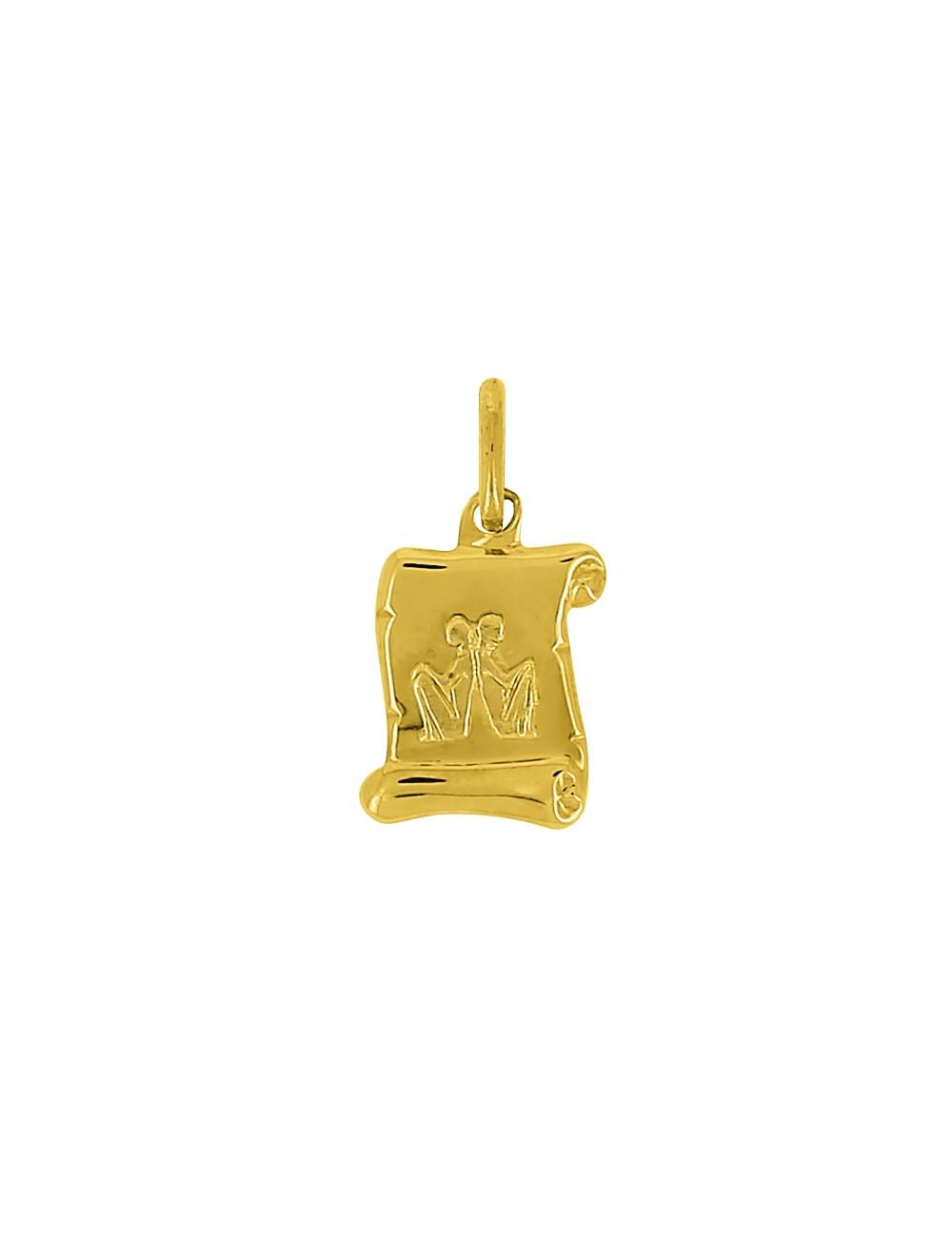 Pendentif Signe Du Zodiaque Gémeaux Or Jaune 18 Carats + Chaine Or Jaune 9 Carats Offerte