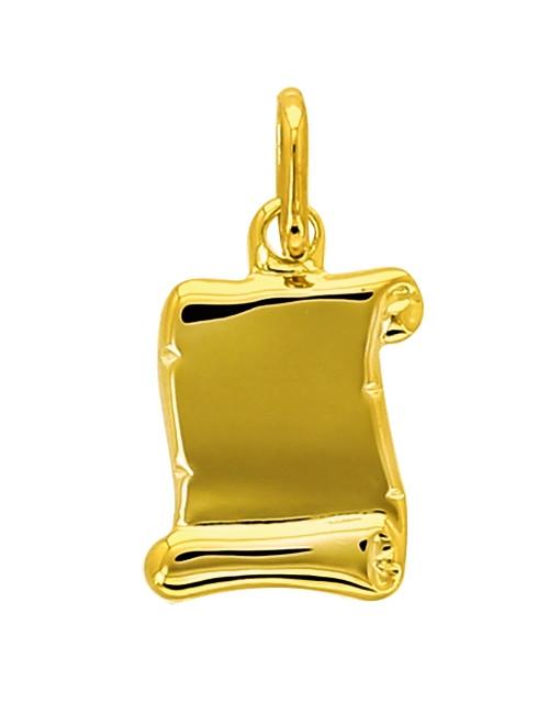 Pendentif Parchemin Or Jaune 18 Carats + Chaine Or Jaune Offerte