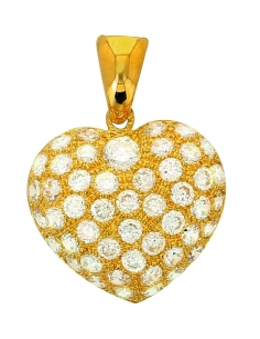 Pendentif Coeur Et Zircon Or Jaune 18 Carats + Chaine Or Jaune Offerte