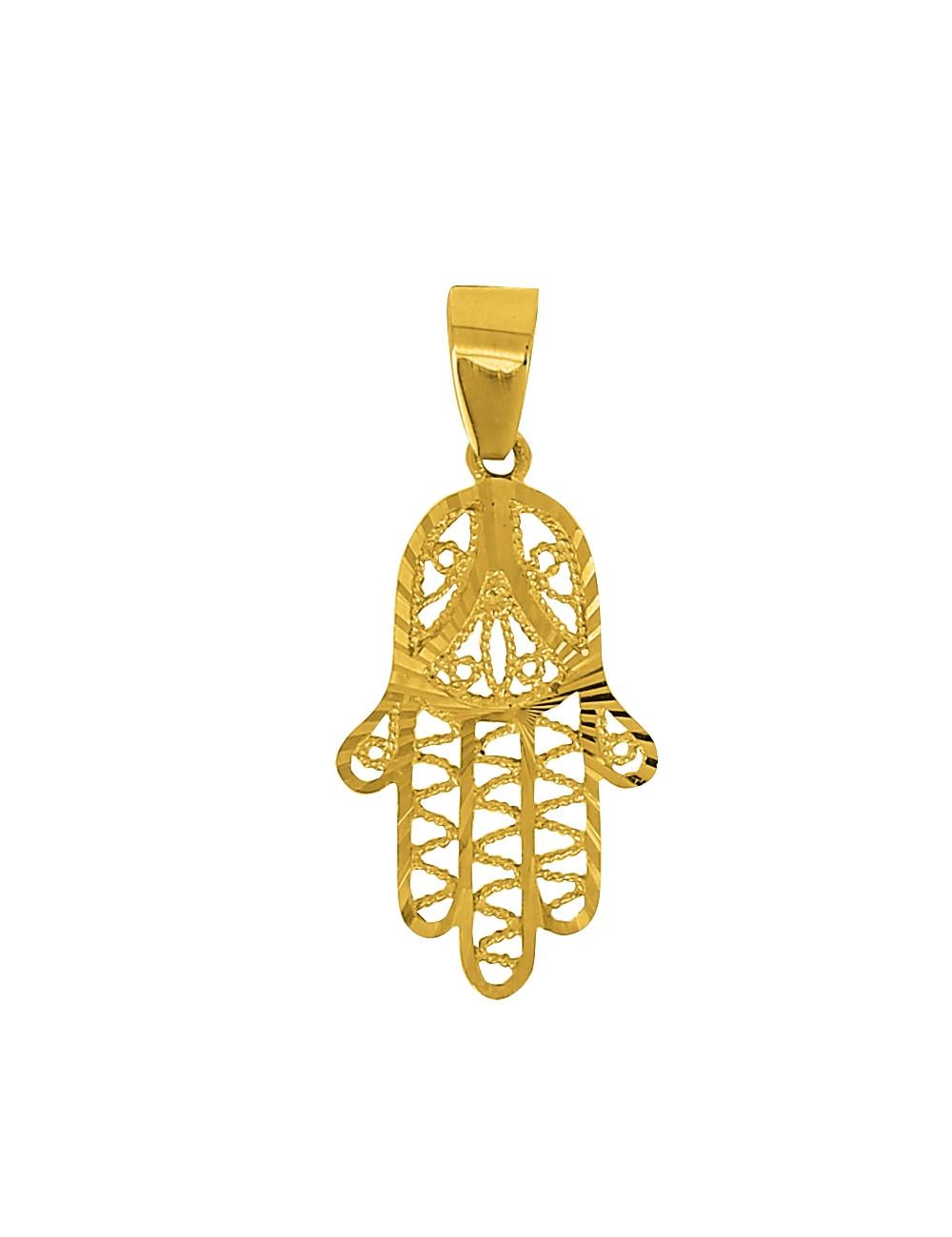Pendentif Main Filigrane Or Jaune 18 Carats + Chaine en Or OFFERTE
