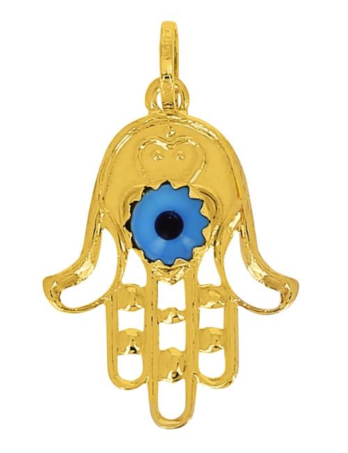 Pendentif Main Oeil Bleue Or Jaune 18 Carats + Chaine Or Jaune OFFERTE