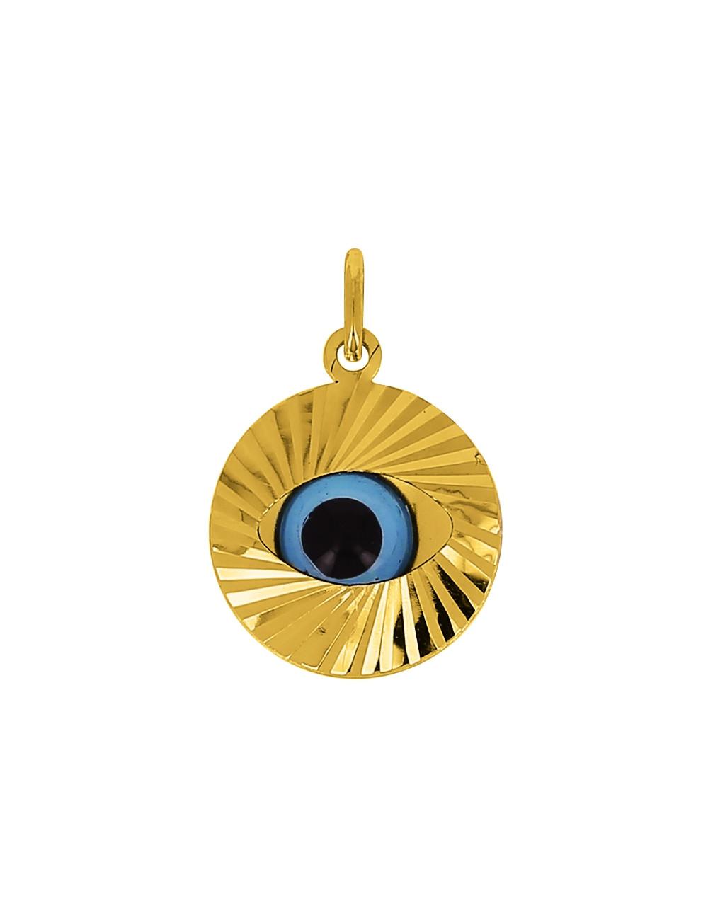 Pendentif Oeil Bleu Or Jaune 18 Carats + Chaine Or Jaune OFFERTE