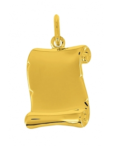 Pendentif Parchemin Or Jaune 18 Carats + Chaine en Or Jaune OFFERTE