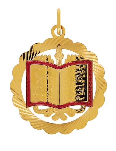 Pendentif Livre Rouge Coran Or Jaune 18 Carats + Chaine Or Jaune OFFERTE