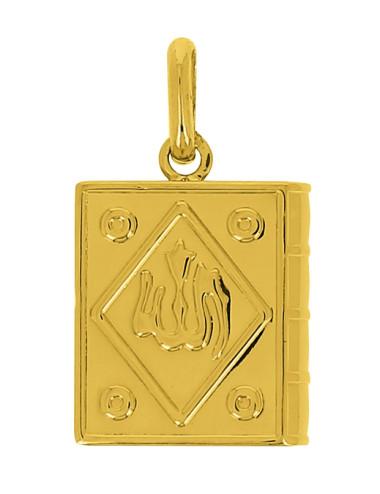 Pendentif Livre Allah Or Jaune 18 Carats + Chaine Or Jaune OFFERTE