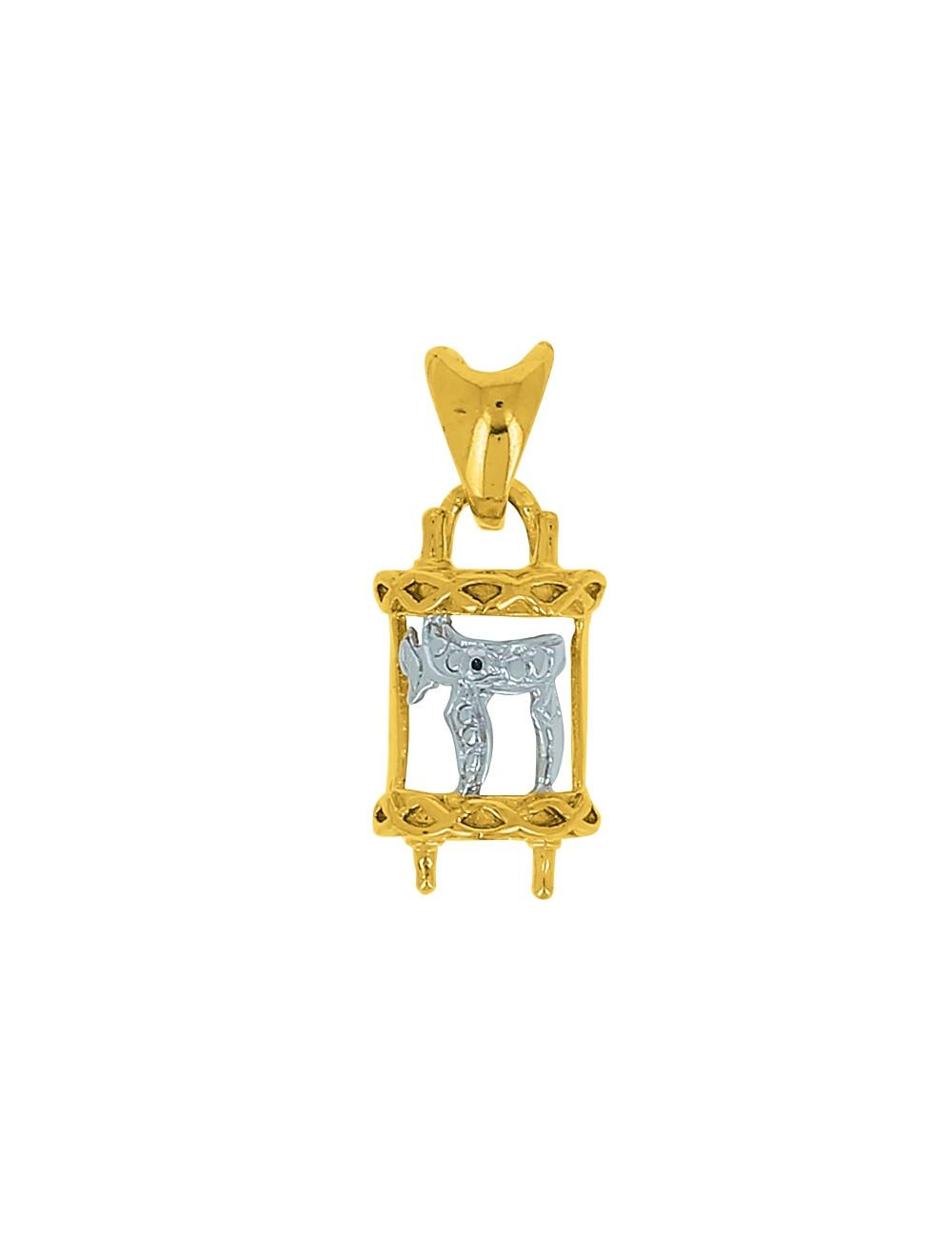 Pendentif Mezouza Hai Or Jaune 18 Carats + Chaine Or Jaune OFFERTE