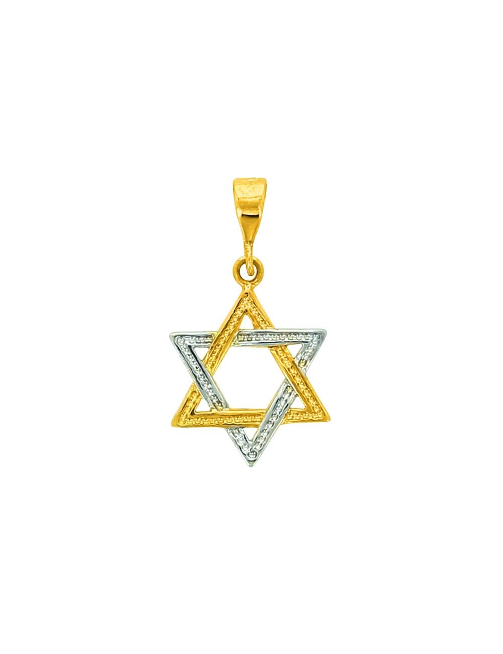 Pendentif Etoile de David 2 Ors 18 Carats + Chaine Or Jaune OFFERTE