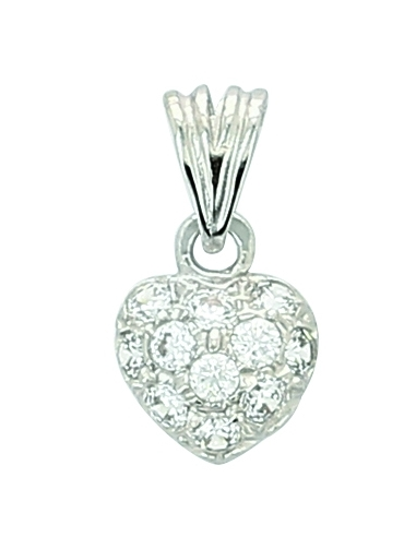 Pendentif Coeur Or Blanc 18 Carats + Chaine OFFERTE