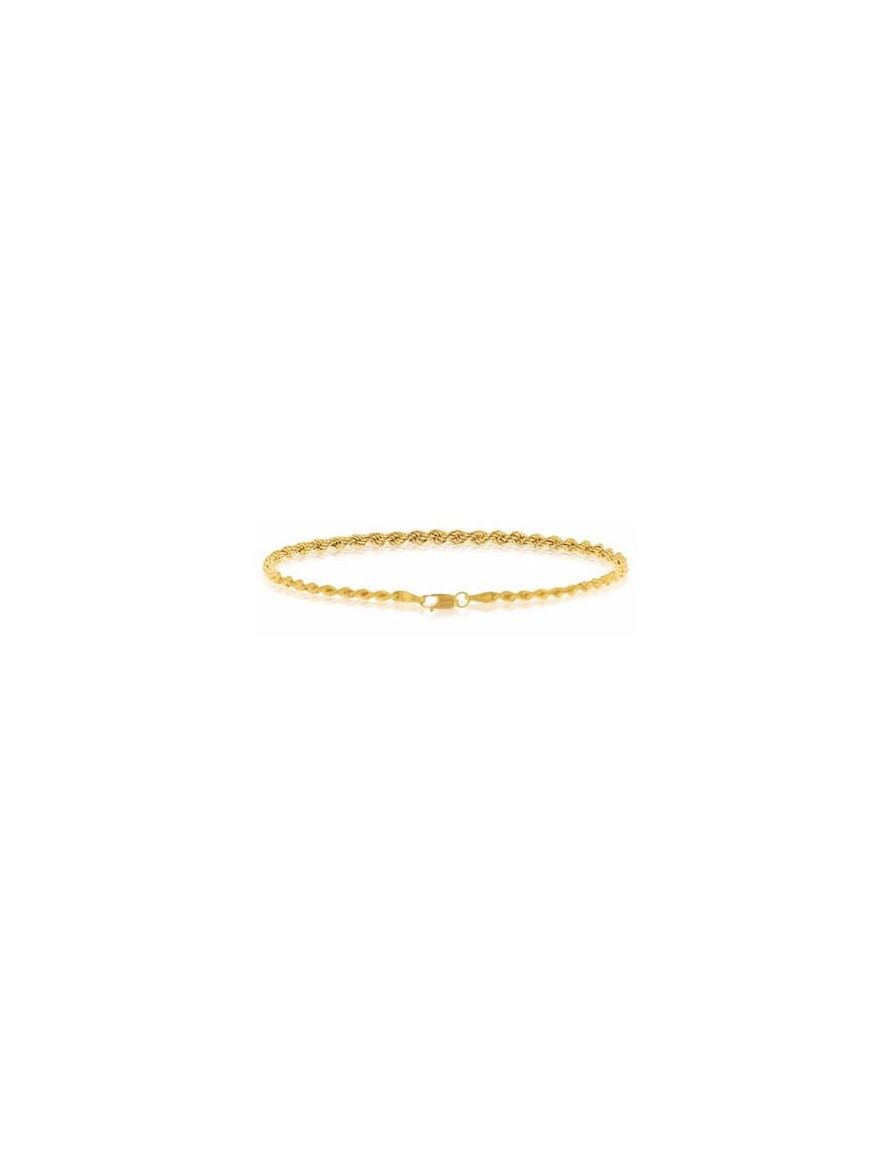bracelet or jaune corde femme 750/1000