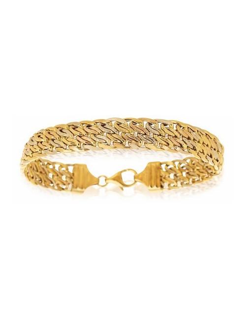 bracelet tricolore sablé femme 750/1000