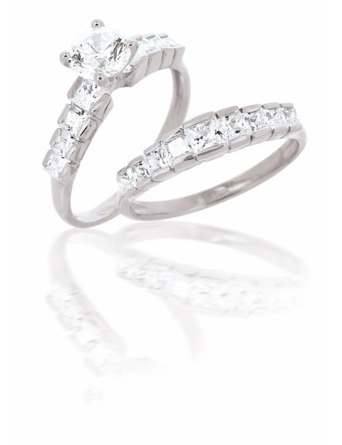 Bague duo Or blanc et zirconium pour mariage