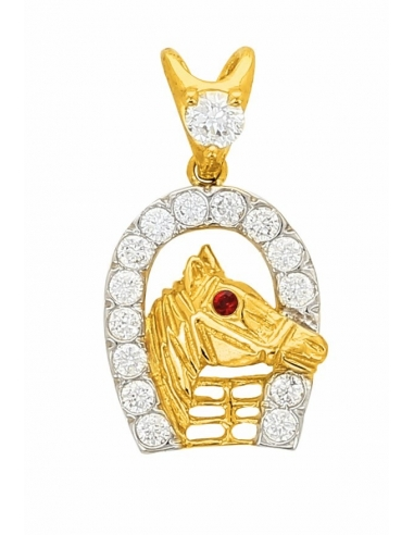 Pendentif cheval or jaune blanc homme ruby 750/1000