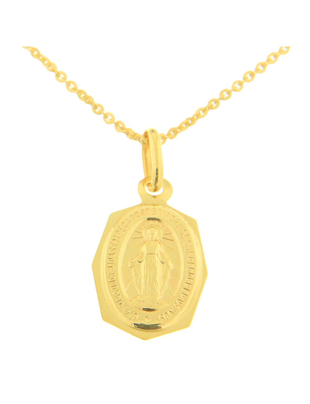 pendentif octogonale religieux or jaune
