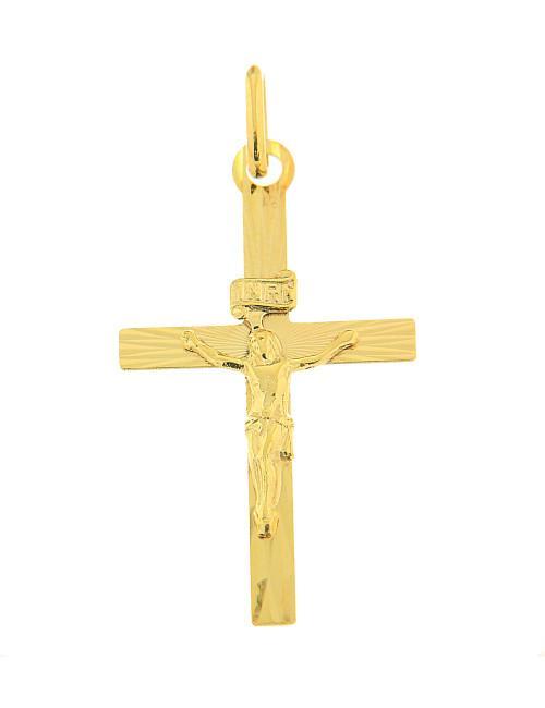 or jaune croix pendentif mixte