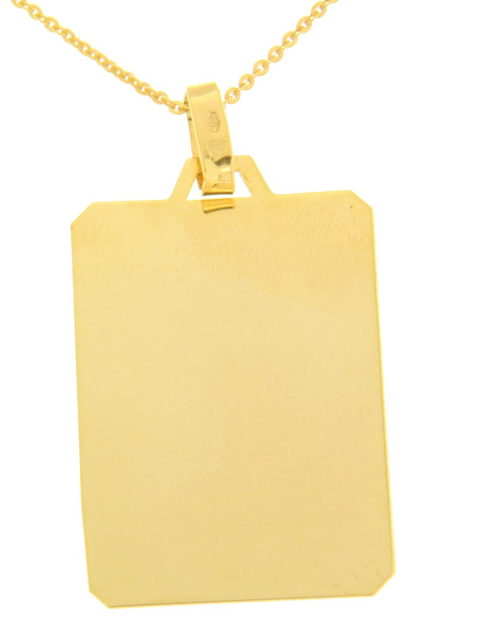 pendentif mixte or jaune plaque