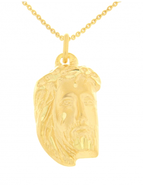 pendentif or jaune christ religieux