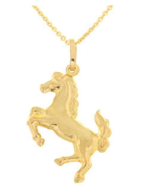 pendentif chevale avec chaine or