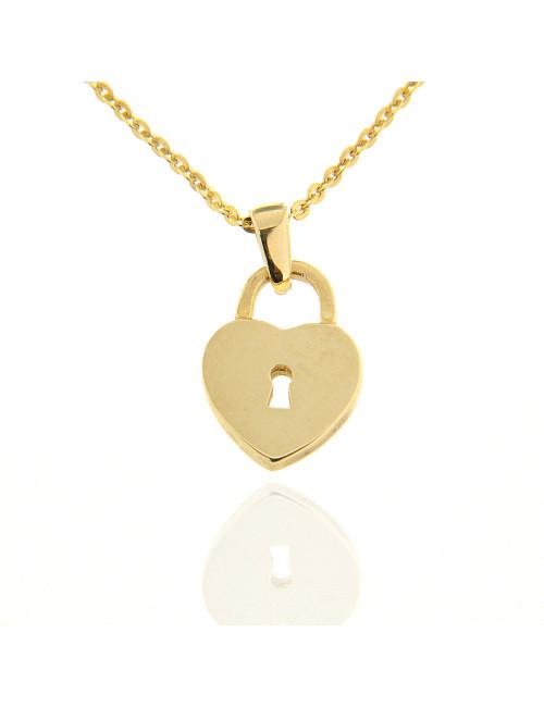 pendentif coeur avec chaine or jaune