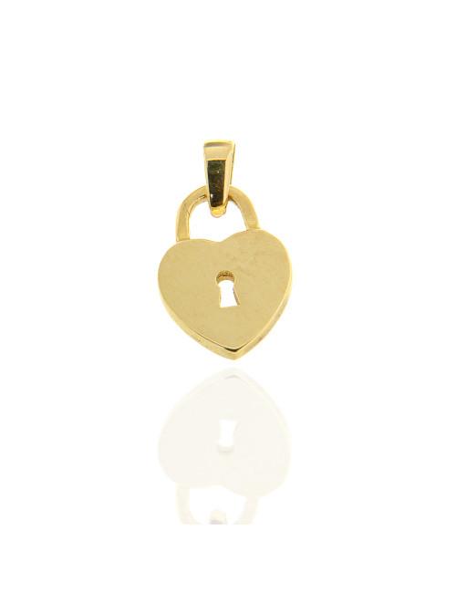 pendentif coeur serrure clef or jaune