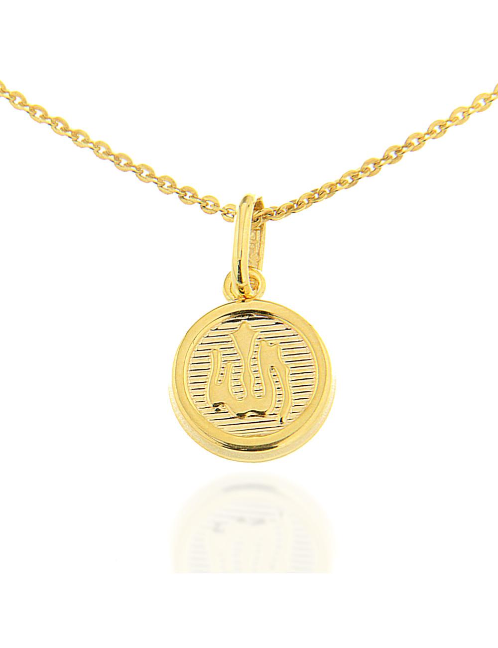 Pendentif Allah rond rayée mixte or jaune bijoux a petit prix