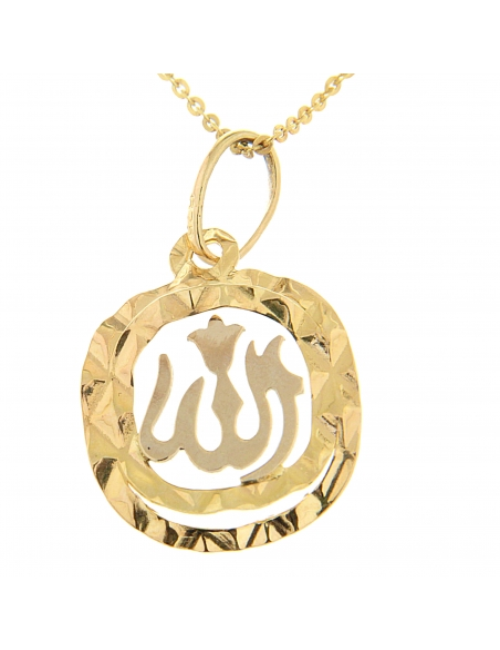 pendentif carrée arrondi avec Allah interieure or jaune